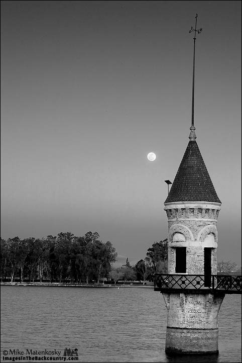 The Tower and the Moon in Black and White