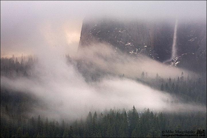 Bridalveil Falls in the Fog at Tunnel View Yosemite