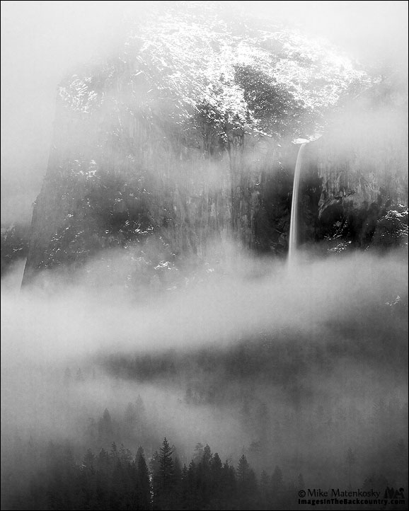 Bridalveil Falls in Black and White