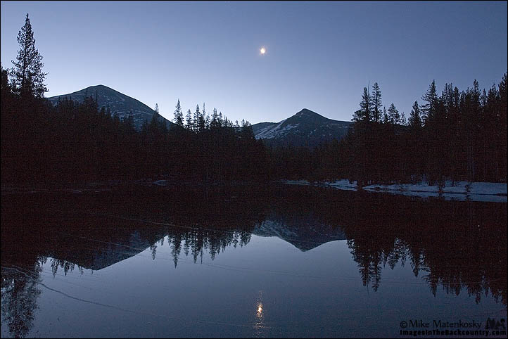 Crescent Moon Over Mt Dana and Mt Gibbs