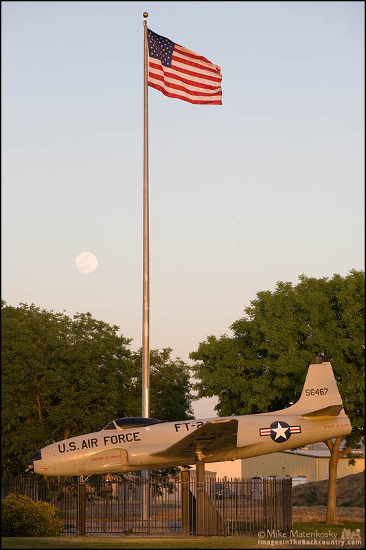 Moon and Flag Over the Shooting Star