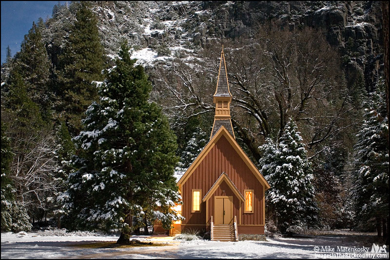 The Yosemite Valley Chapel at Night