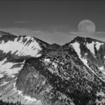 Rising Moon Over Red Peak in Black in White