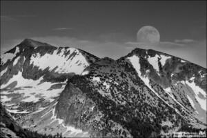 Rising Moon Over Red Peak in Black in White